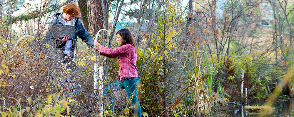 Freshwater Science student and professor in the field at UBC Okanagan