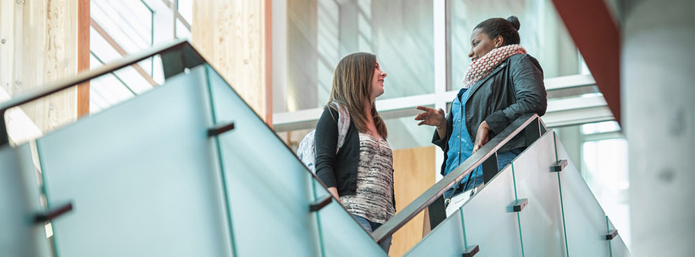 Students chatting at UBC Okanagan's Campus